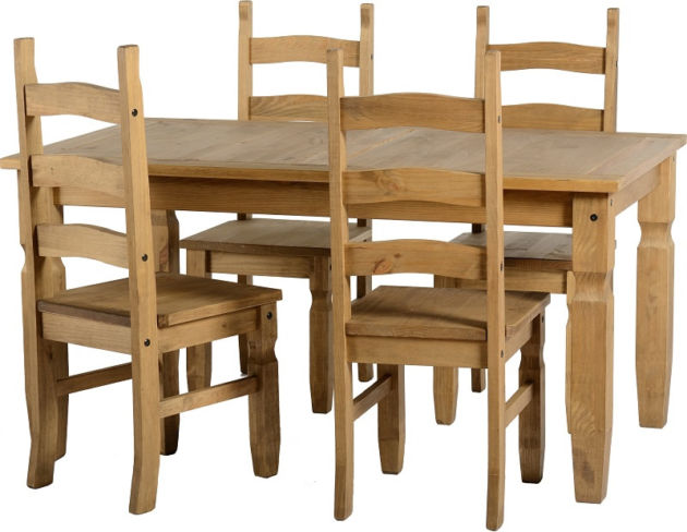 Corona Dining Set in Distressed Waxed Pine + 4 Chairs
