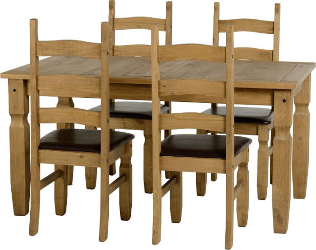 Corona 5' Dining Set in Distressed Waxed Pine/Expresso Brown PU + Chairs