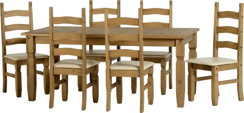 Corona 6' Dining Set in Distressed Waxed Pine/Cream PU + 6 Chairs