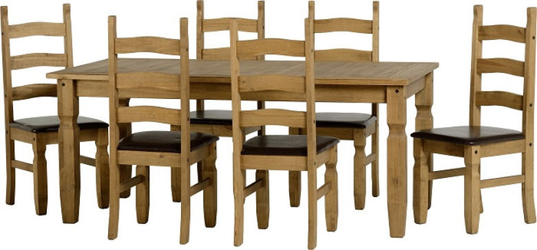 Corona 6' Dining Set in Distressed Waxed Pine/Expresso Brown PU + 6 Chairs
