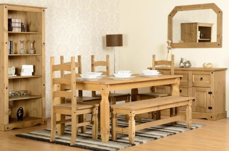 Corona 6' Dining Set With 5' Bench And 4 Chairs in Distressed Waxed Pine