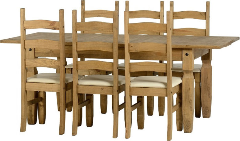 Corona Extending Dining Set (1+6) in Distressed Waxed Pine/Cream PU