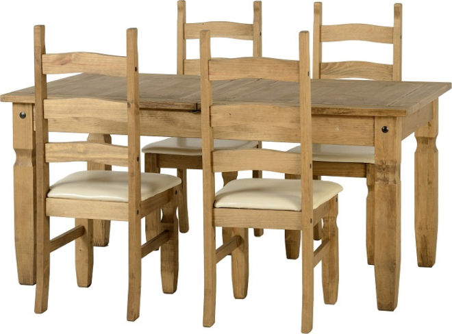 Corona Extending Dining Set in Distressed Waxed Pine + Chairs