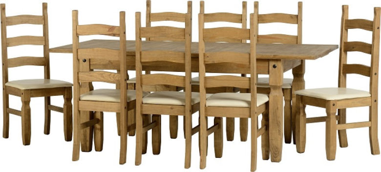Corona Extending Dining Set (1+8) in Distressed Waxed Pine/Cream PU