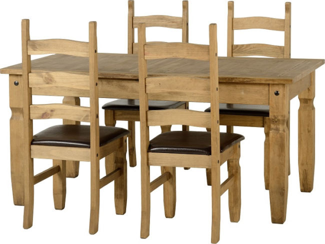 Corona Extending Dining Set in Distressed Waxed Pine + 4 Chairs