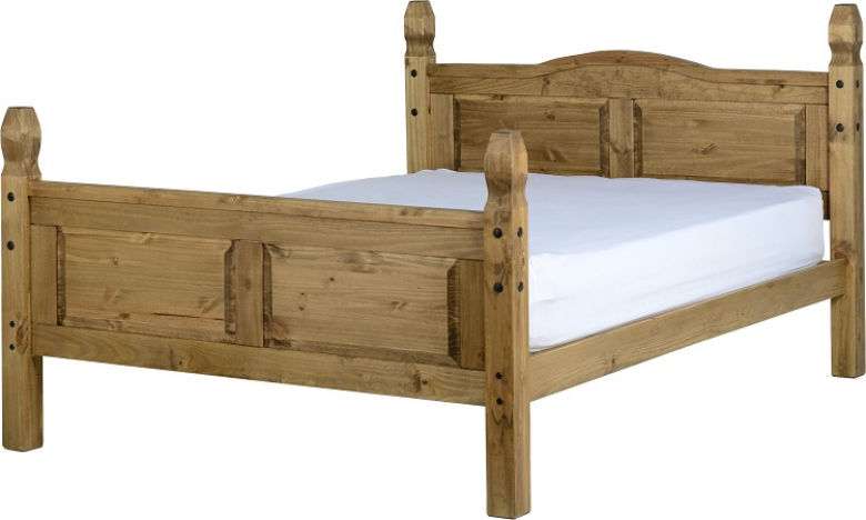 Corona 5' Kingsize Bed High Foot End in Distressed Waxed Pine
