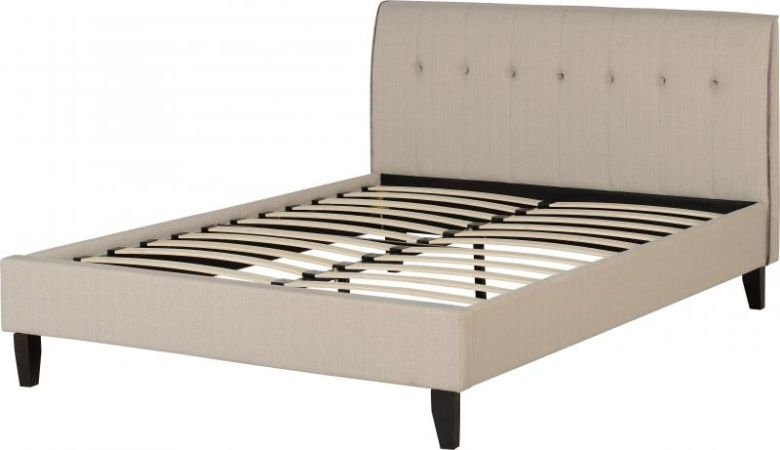 "Dawson 4'6"" Bed in Cream Fleck/Lilac Piping"
