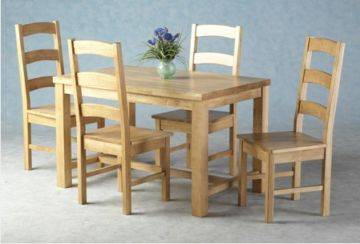 Santana Dining Set with Four(4) Chairs - Light Oak