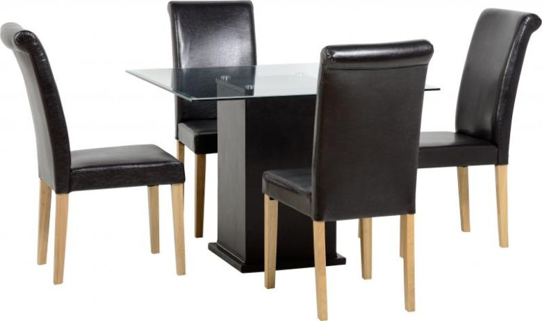 Galaxy Square Dining Set with Dunoon Chairs in Clear Glass/Expresso Brown PU