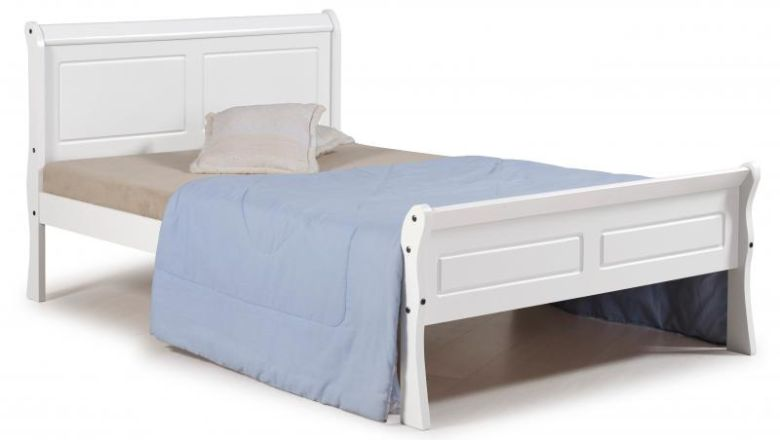 "Georgia 4'6"" Sleigh Bed in White"