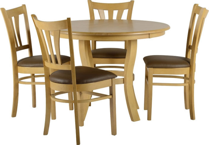 "Grosvenor 40"" Round Dining Set in Natural Oak Veneer + 4 Chairs"