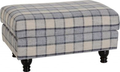 Hammond Footstool in Grey Check Fabric