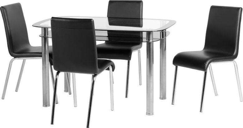 Harlequin 4' Dining Set in Clear Glass/Black Border/Black Glass/Silver/Black PU/Chrome