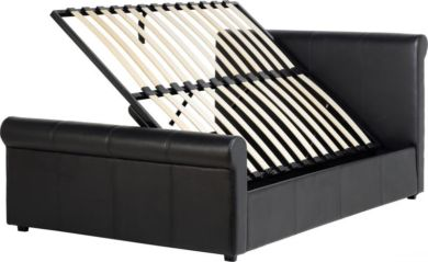 "Franklyn 4'6"" Double Storage Bed in Brown PU"