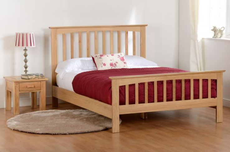 "Stratford 4'6"" Bed High Foot End in Solid Oak"