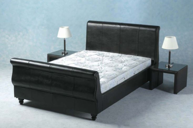 Monarch Sleigh Double Leather Bed