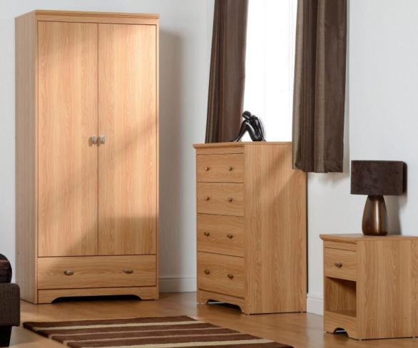 Regent 2 Door 3 Drawer Bedroom Set in Teak Effect Veneer