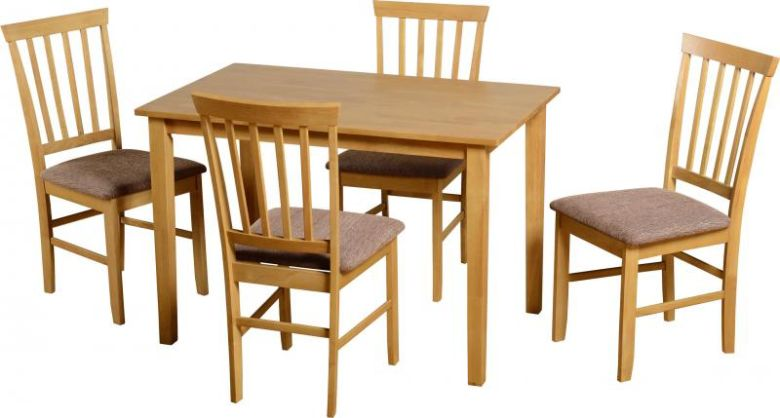 "Selina 45"" Dining Set in Natural Oak/Cream"