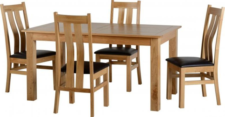 Stratford Dining Set in Solid Oak/Brown