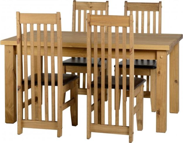 Tortilla 6' Dining Set in Distressed Waxed Pine/Expresso Brown PU