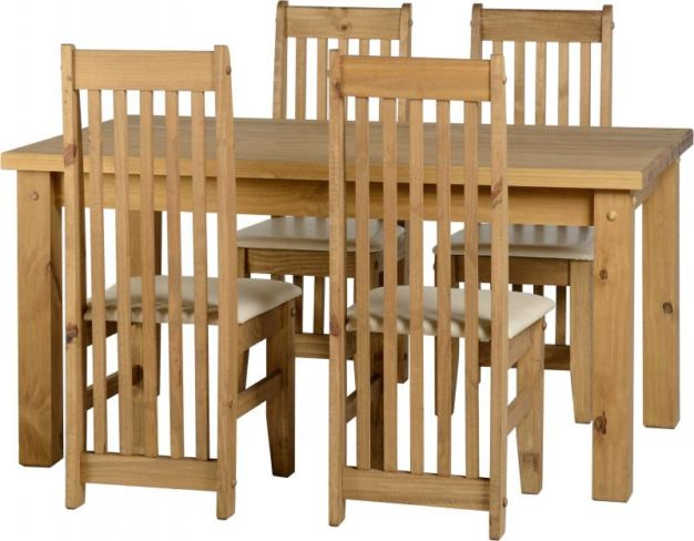 "Tortilla 4'9"" Dining Set in Distressed Waxed Pine/Cream Faux Leather"