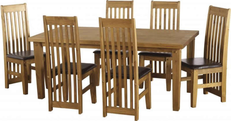 "Tortilla 4'9"" Dining Set in Distressed Waxed Pine/Expresso Brown PU"