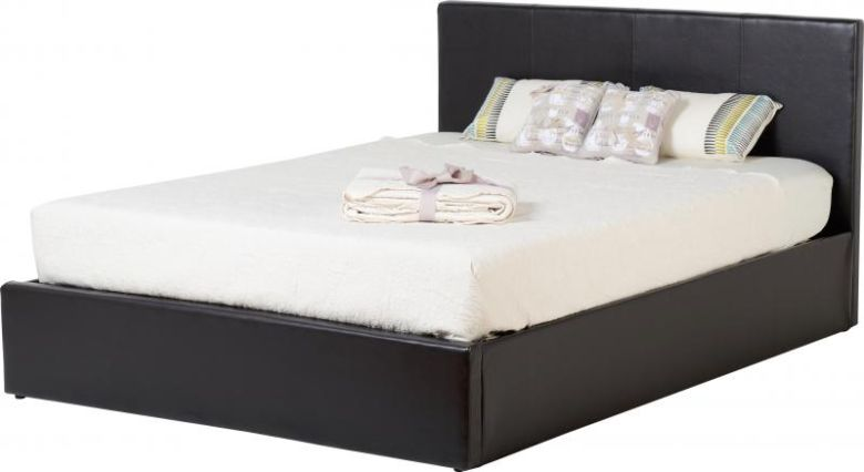 "Waverley 4'6"" Storage Bed in Brown PU"