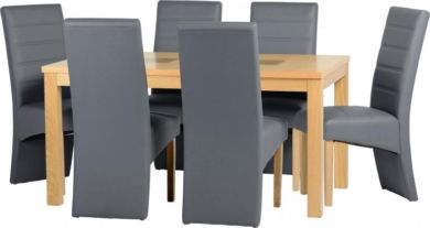 "Wexford 59"" Dining Set - G5 Chair in Oak Veneer/Walnut Inlay/Grey Faux Leather"