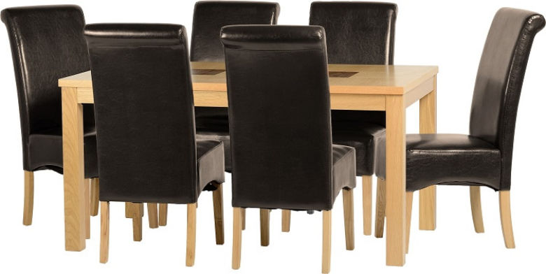 "Wexford 59"" Dining Set - G1 in Oak Veneer/Walnut Inlay/Expresso Brown PU"