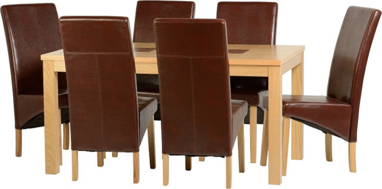 "Wexford 59"" Dining Set - G1 in Oak Veneer/Walnut Inlay/Mid Brown PU"