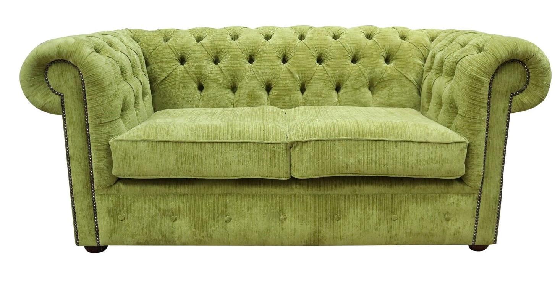 Chesterfield 2 Seater Settee Azzuro Olive Green Velvet Fabric Sofa Offer