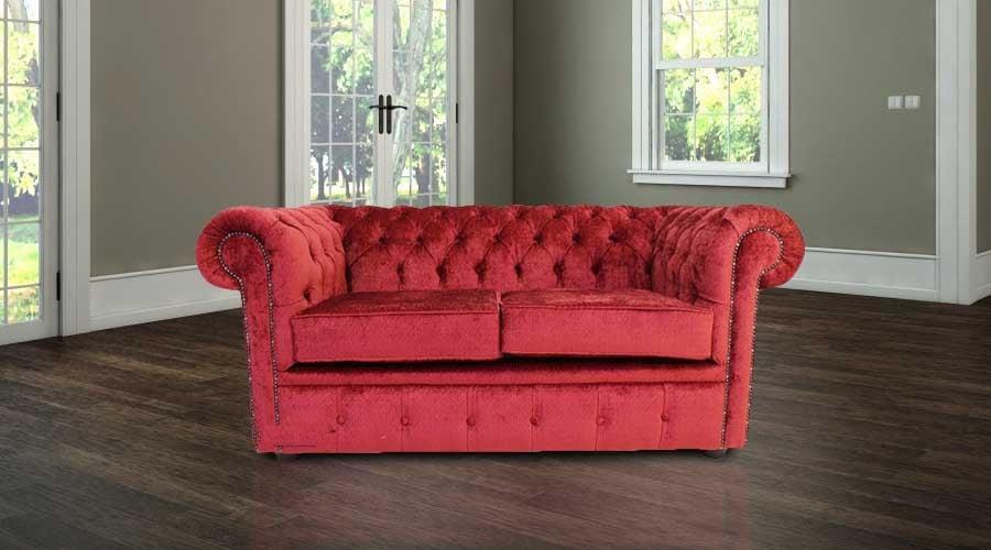 Chesterfield 2 Seater Settee Avanti Carmine Wine Textured Velvet Fabric  Sofa Offer