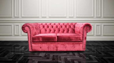 Chesterfield 2 Seater Settee Elegance Ruby Red Velvet Sofa Offer
