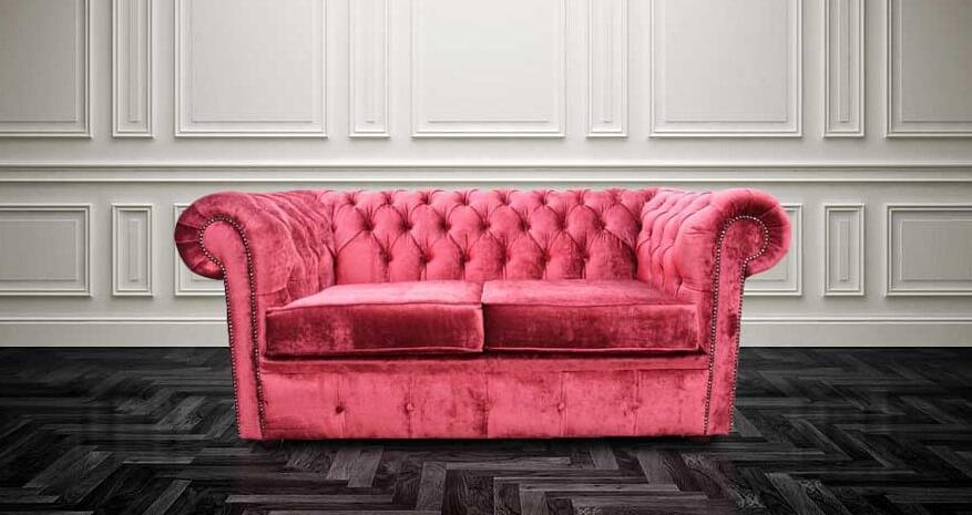 3d804fa95cbb Chesterfield 2 Seater Settee Elegance Ruby Red Velvet Sofa Offer