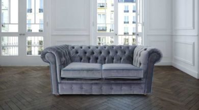 Bexley Chesterfield 2 Seater Settee Malta Grey Silver Blue Piping Velvet Fabric Sofa Offer