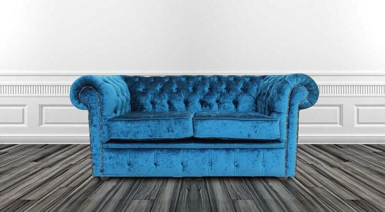 Chesterfield 2 Seater Settee Pastiche Petrol Blue Velvet Sofa Offer
