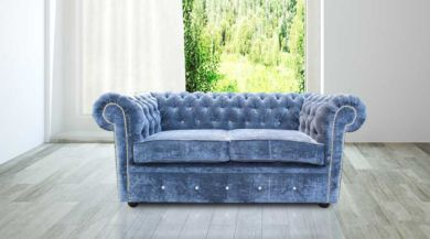 Chesterfield Crystal Diamond 2 Seater Blue Velvet Sofa Offer