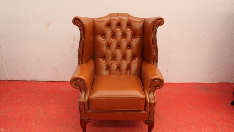 Chesterfield Queen Anne High Back Wing Chair Old English Saddle