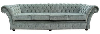 Chesterfield Grosvenorl 4 Seater Sofa Settee Velluto Lawn Fabric