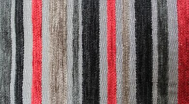Argent Stripe Black Fabric