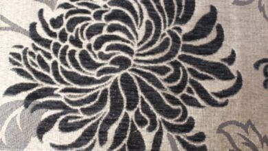 Balcony Floral Black Fabric