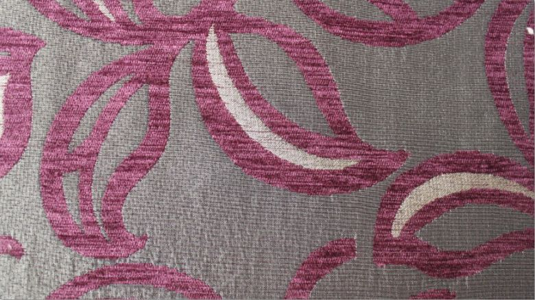 Patio Leaf Aubergine Fabric