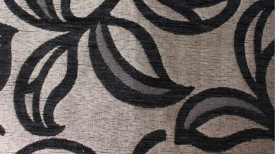 Patio Leaf Black Fabric