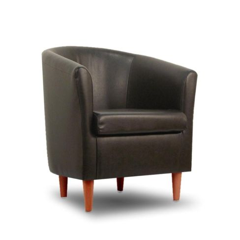Leather Bucket Tub Chair Badger
