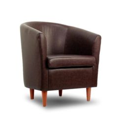 Leather Bucket Tub Chair Chocolate