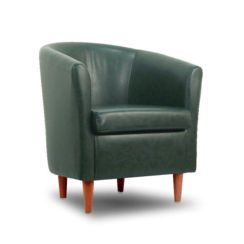 Leather Bucket Tub Chair Conifer Green