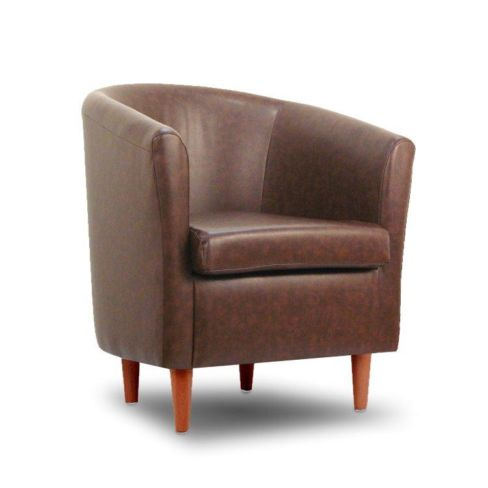 Leather Bucket Tub Chair Infinity Tan Faux Leather
