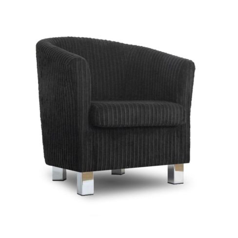Small Fabric Sofa Tub Chair Jumbo Black Chrome Legs