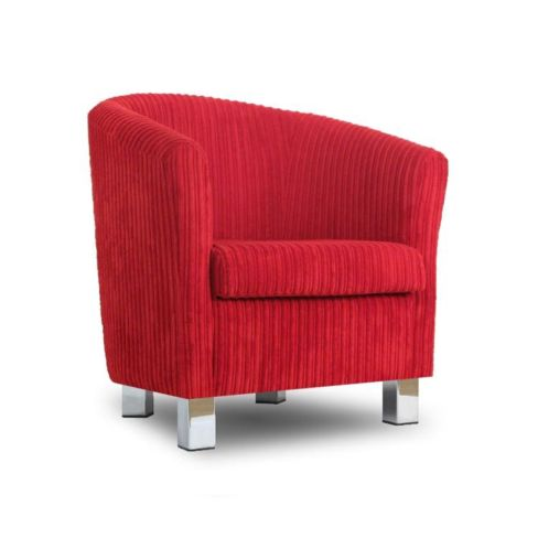 Small Fabric Sofa Tub Chair Jumbo Cord Rouge Chrome Legs