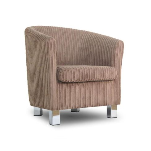 Small Fabric Sofa Tub Chair Jumbo Cord Sable Chrome Legs